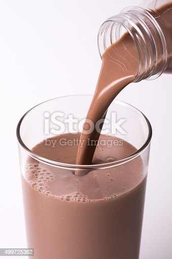 Chocolate milk being poured from a plastic bottle into a glass.