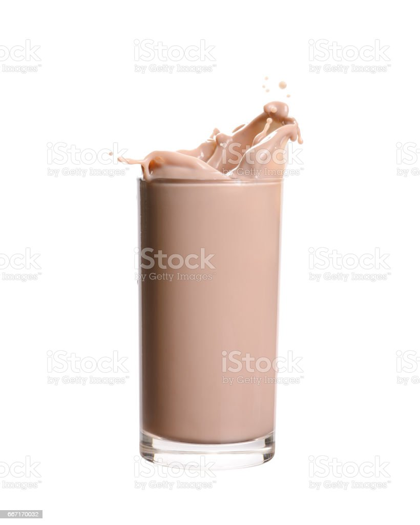 Chocolate Milk Splashing stock photo