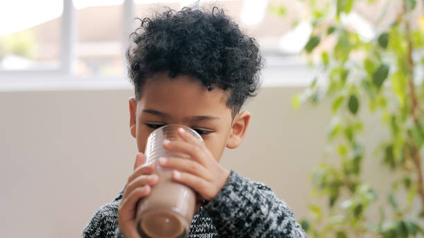 Chocolate milk, the official drink of childhood stock photo
