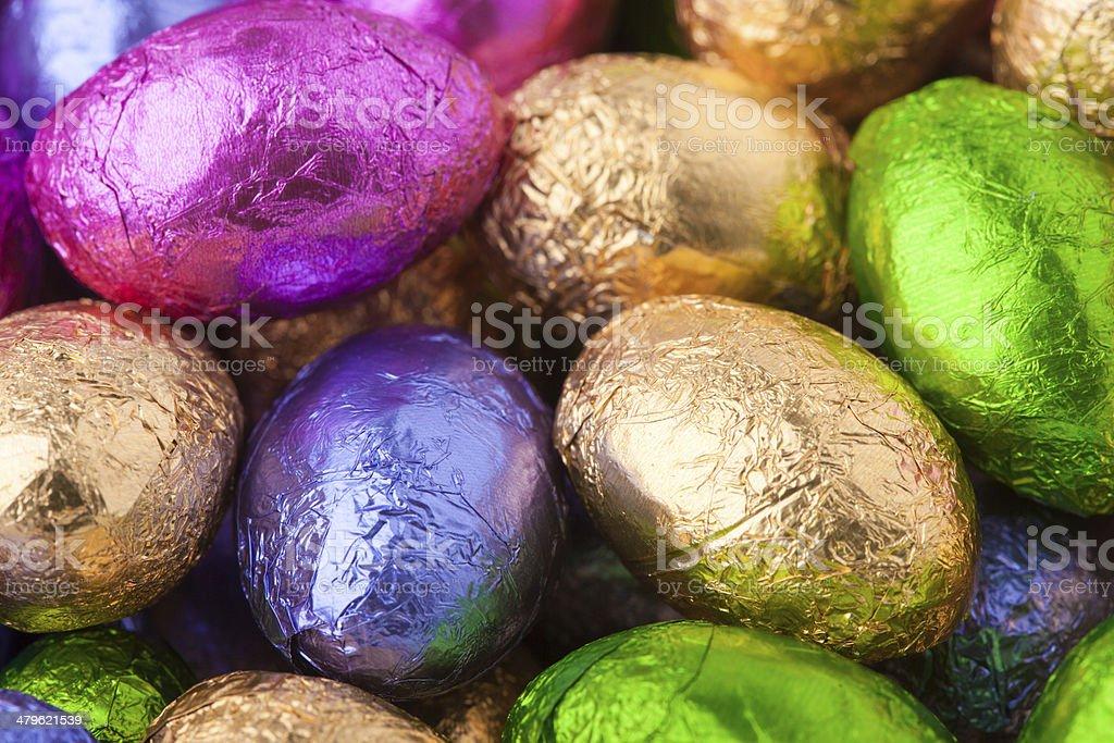 Chocolate Mini eggs stock photo