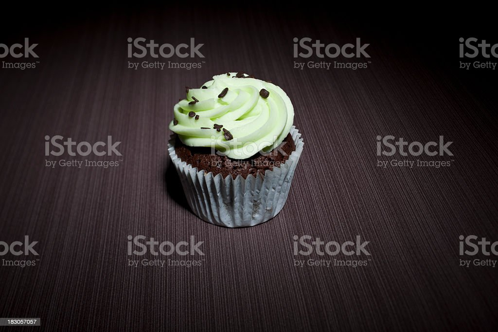 Chocolate mint cupcake under the spotlight royalty-free stock photo