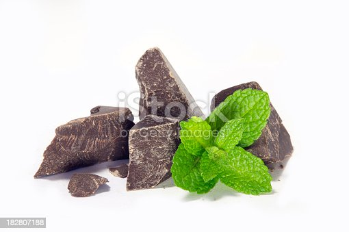 Chocolate and mint isolated on white.