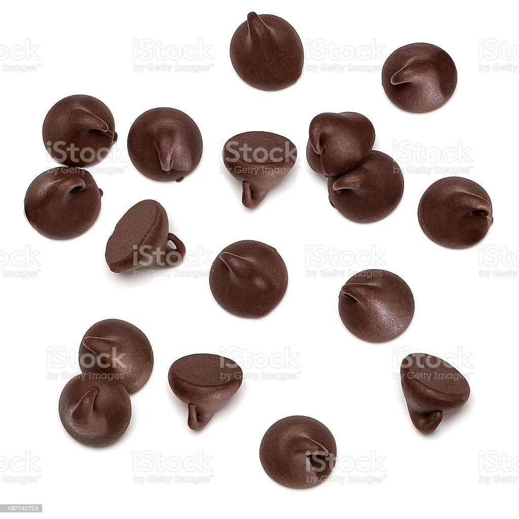 Chocolate morsels stock photo
