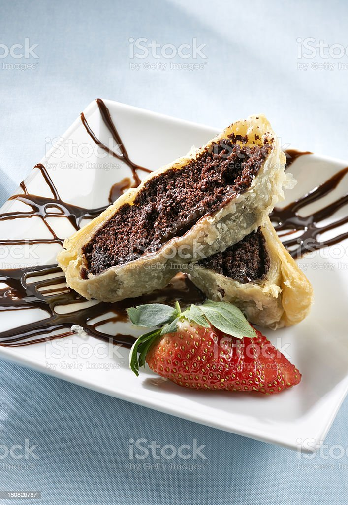 Chocolate Mouse Cake wrapped in Phyllo dough stock photo