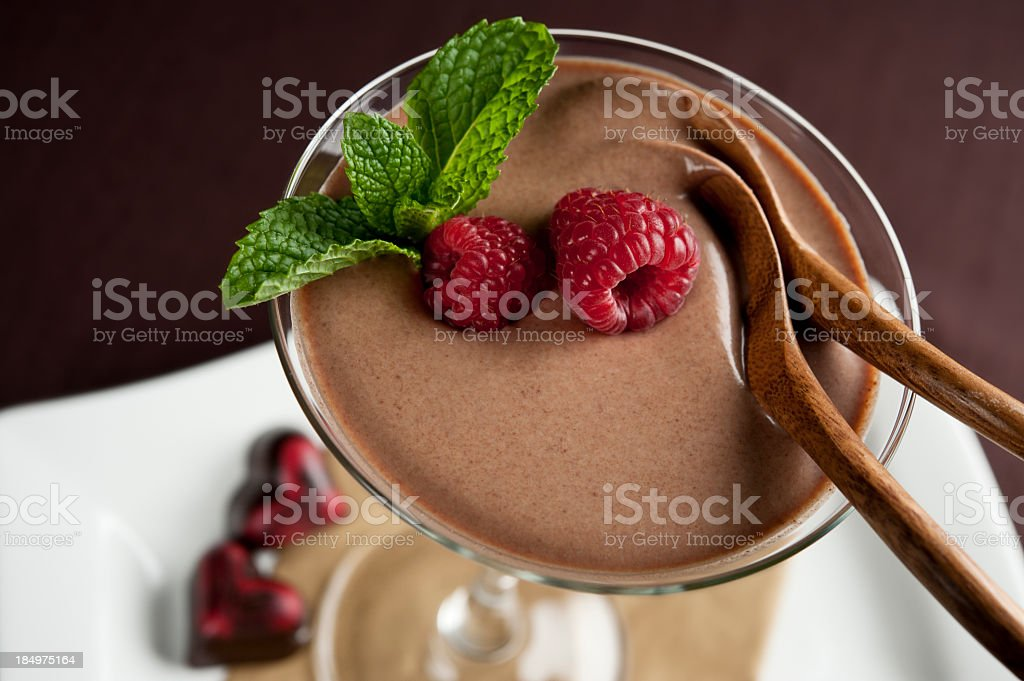 A chocolate mouse dessert for two stock photo