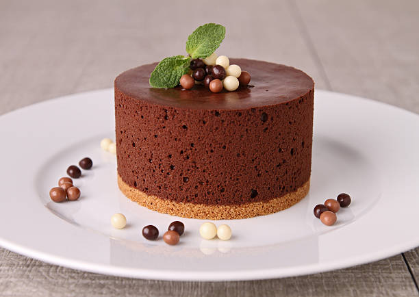chocolate mousse cake - chocolate mousse stock photos and pictures