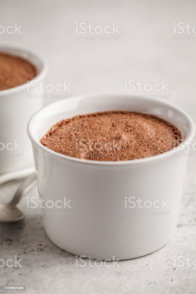 Chocolate mousse from aquafaba. Vegan chickpea dessert. stock photo