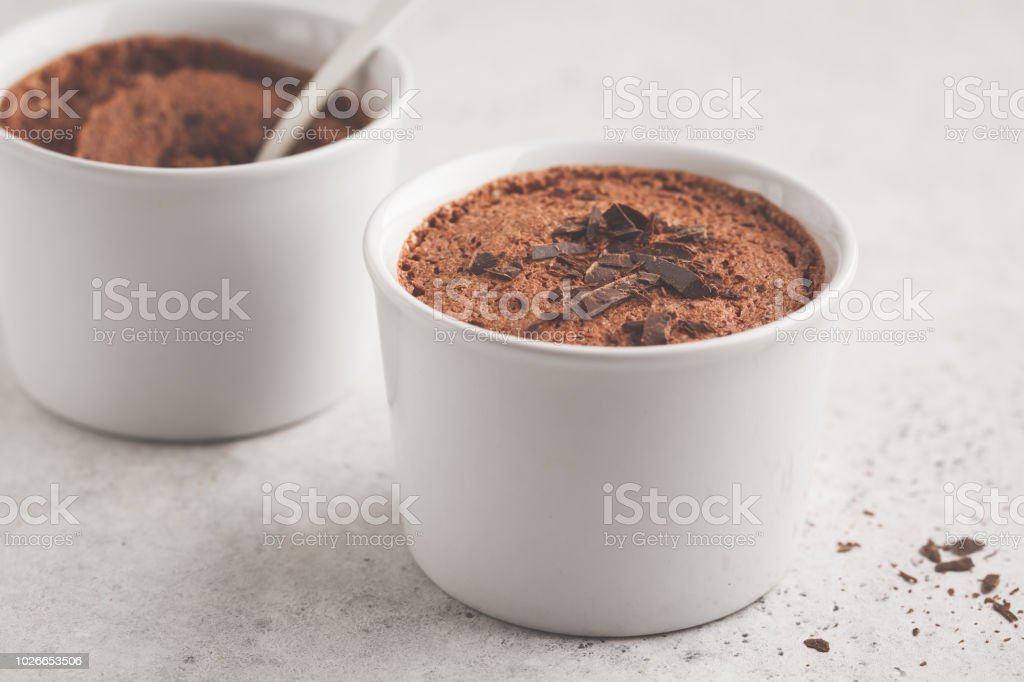 Chocolate mousse from aquafaba. Vegan chickpea souffle dessert. stock photo