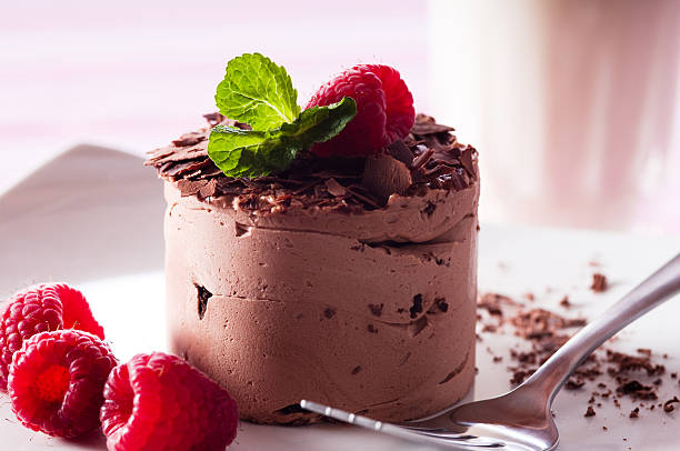 chocolate mousse - chocolate mousse stock photos and pictures