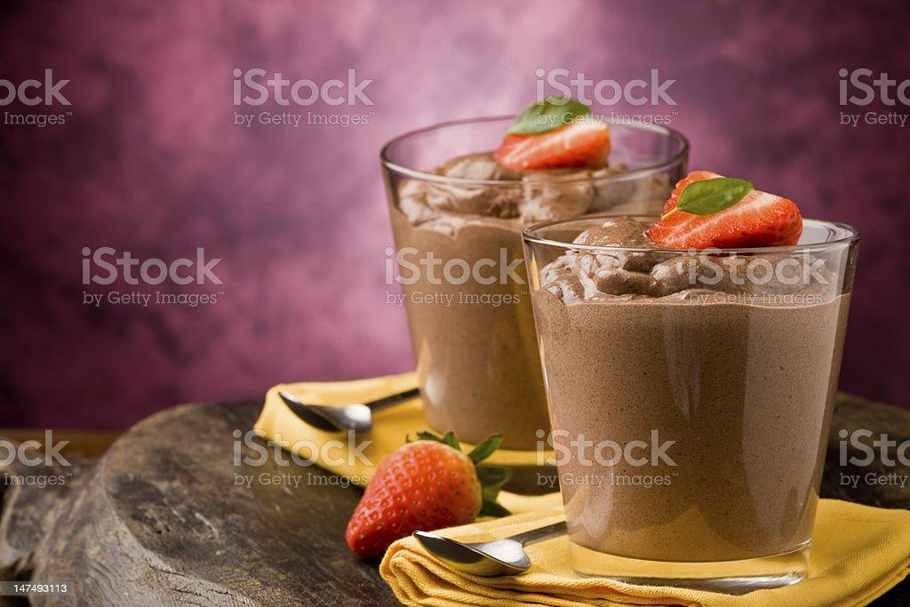 Chocolate Mousse - Pudding stock photo