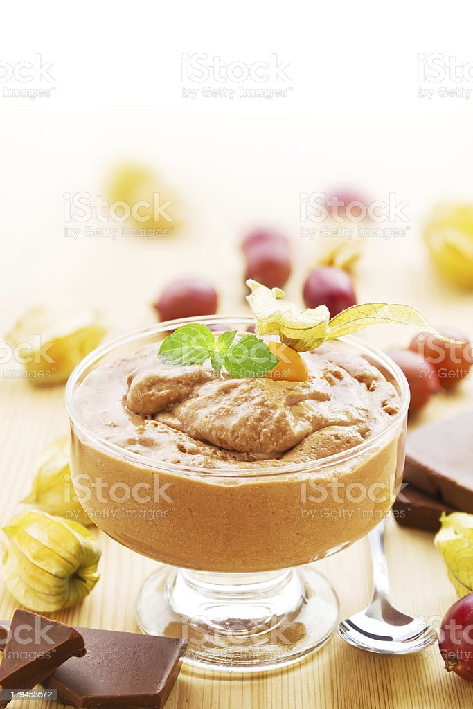 Chocolate mousse with fruits royalty-free stock photo