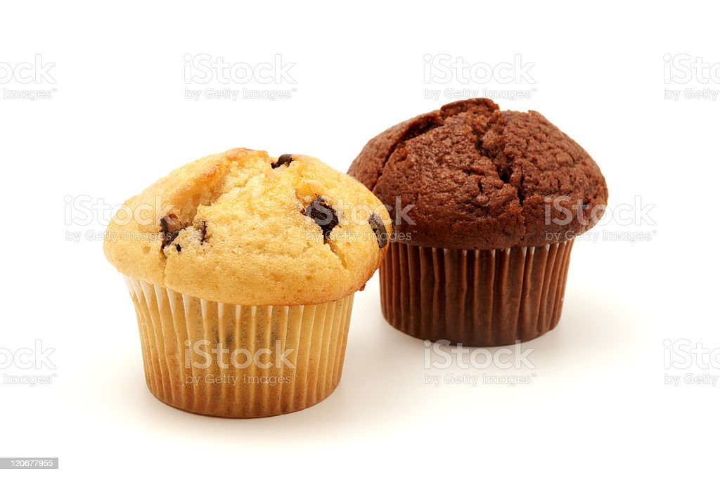 A chocolate muffin and a choc chip muffin stock photo