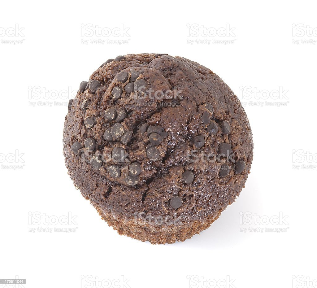 Chocolate muffin isolated on white background royalty-free stock photo