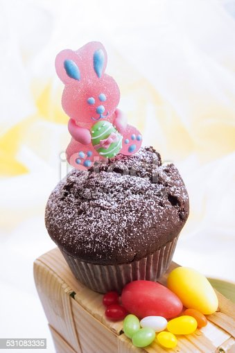 Chocolate muffin with Easter decoration