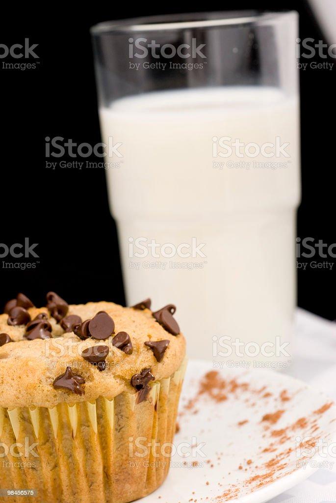 초콜릿 머핀, 우유, lait et 프랑스 케이크 royalty-free 스톡 사진