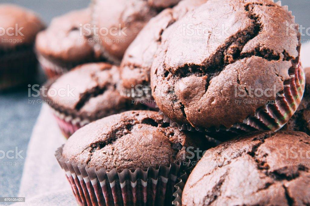 Chocolate muffins on a dark background stock photo