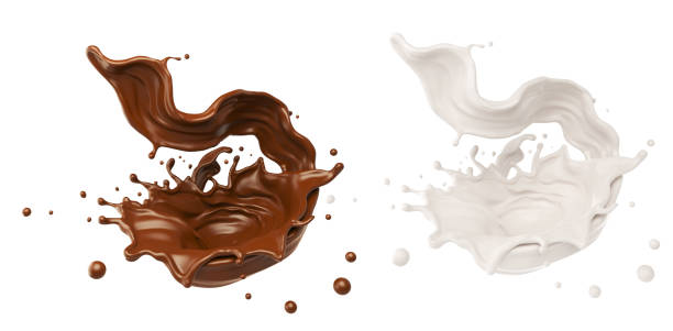 chocolate or cocoa and milk splash. - chocolate imagens e fotografias de stock