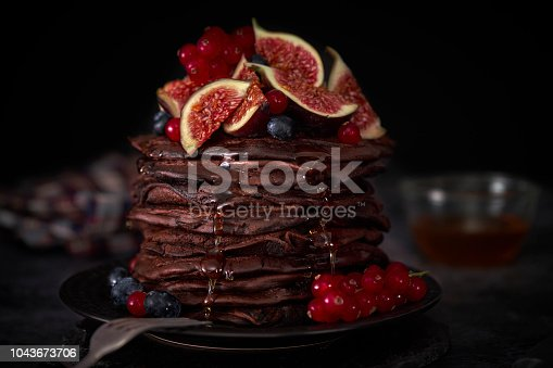 Chocolate Pancake Tower with Fresh Figs
