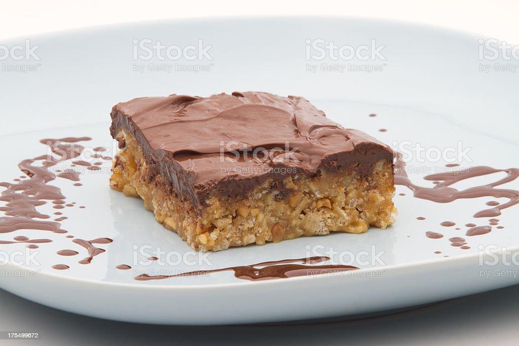 Chocolate Peanut Butter Rice Crispy Bar stock photo