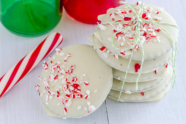 Chocolate Peppermint Holiday Cookies stock photo