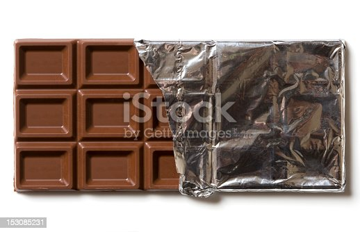 Chocolate in silver foil.