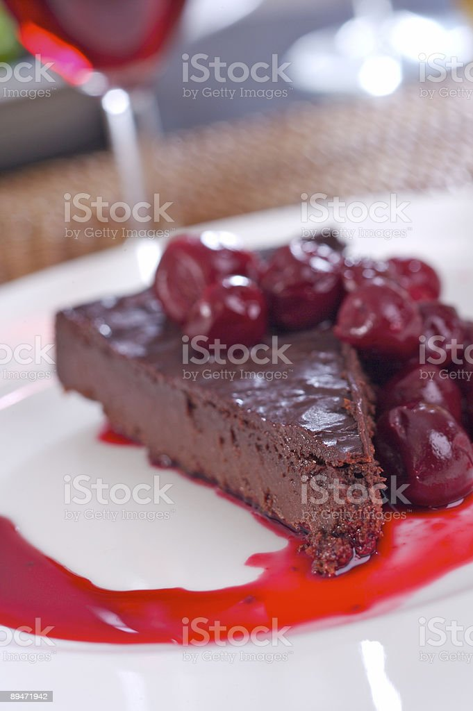 Chocolate pie with cherries royalty-free stock photo