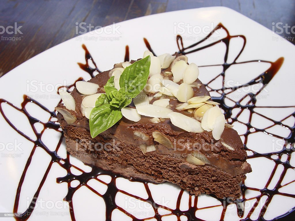 Chocolate pie with nuts royalty-free stock photo