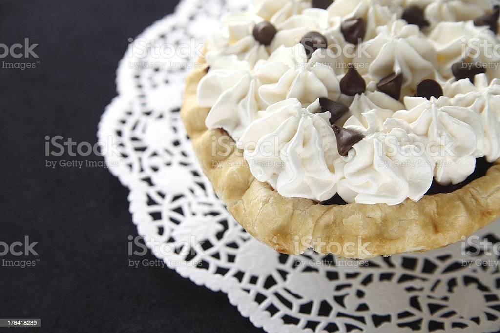 chocolate pie with whipped cream royalty-free stock photo