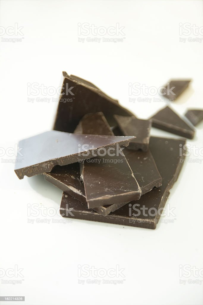 Chocolate pieces isolated on white royalty-free stock photo