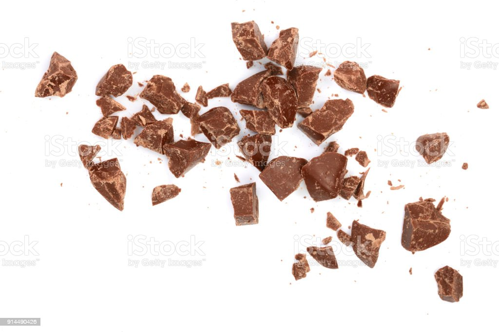 Chocolate pieces isolated on white. Top view. Flat lay royalty-free stock photo
