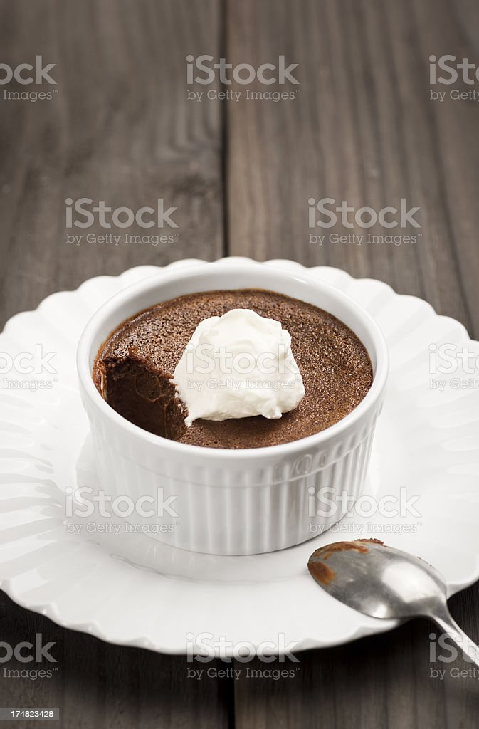 Chocolate Pot de Creme or Custard with Whipped Cream royalty-free stock photo