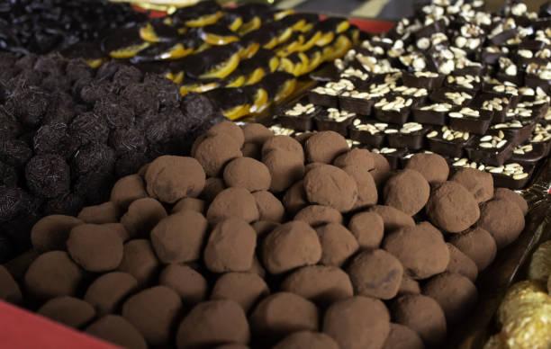 Chocolate pralines Belgium Chocolate pralines Belgium shop, food and desserts spa belgium stock pictures, royalty-free photos & images