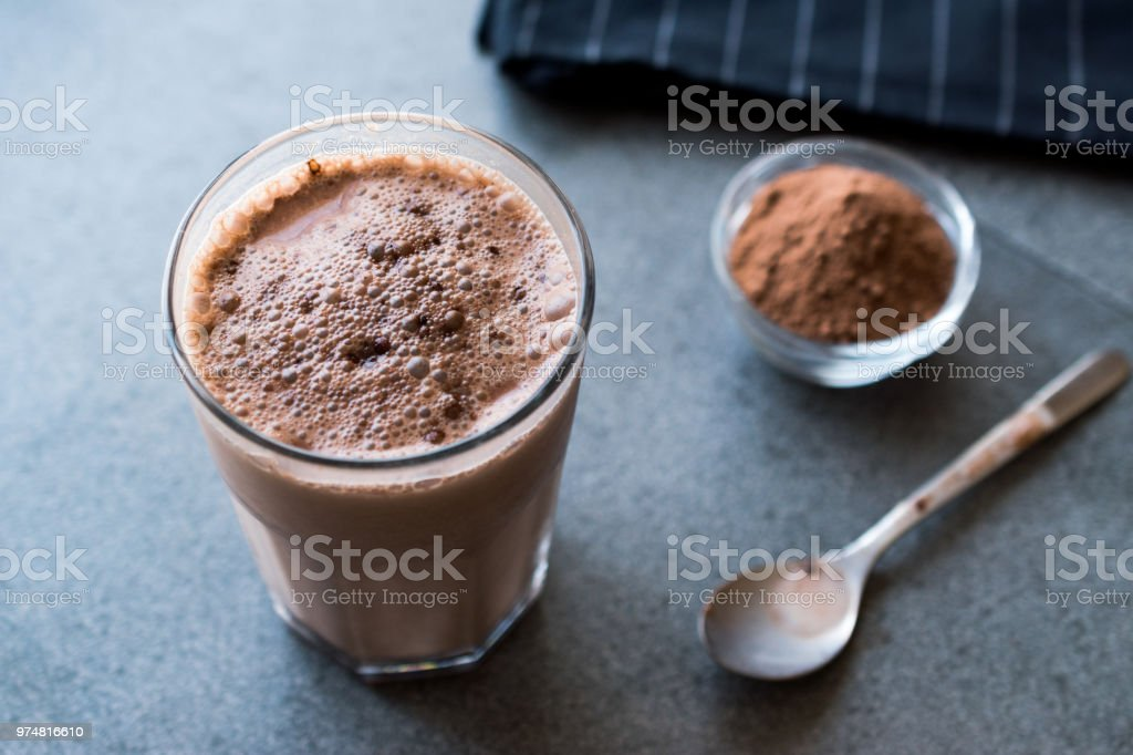 Chocolate Protein Shake Smoothie With Whey Protein Powder