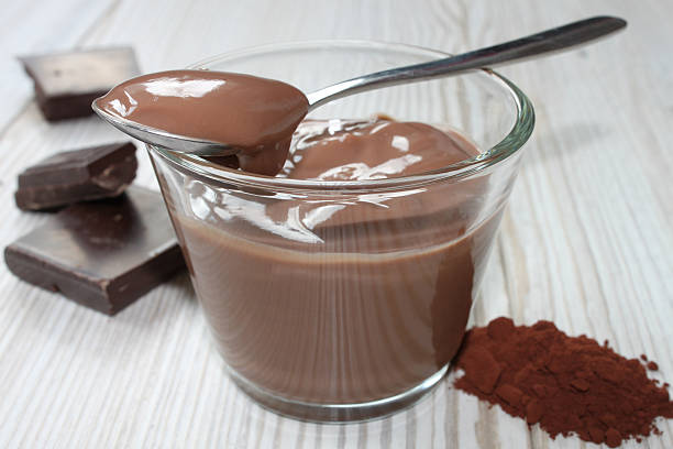 chocolate pudding - chocolate mousse stock photos and pictures