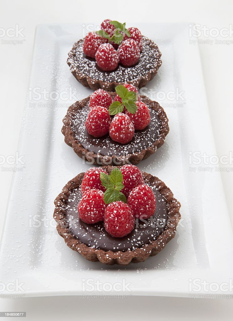Chocolate Raspberry Tarts royalty-free stock photo