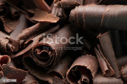 Close-up of homemade dark chocolate shavings