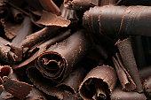 Close-up of homemade dark chocolate shavings