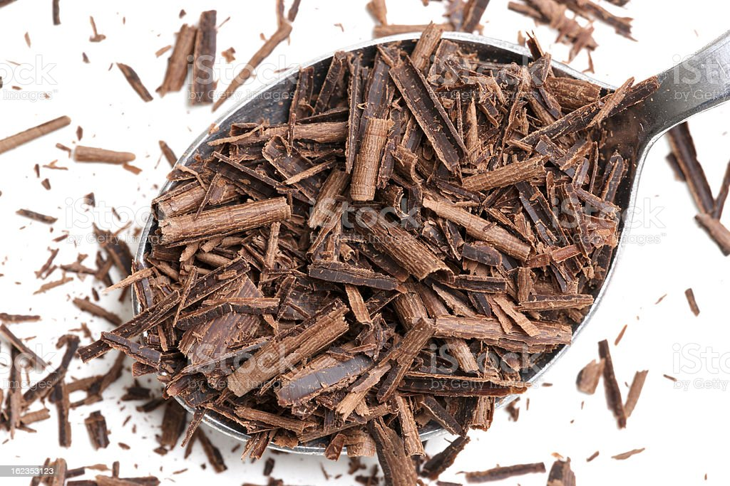 Chocolate Shavings in Spoon royalty-free stock photo