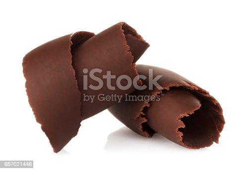 istock Chocolate shavings on white background 657021446