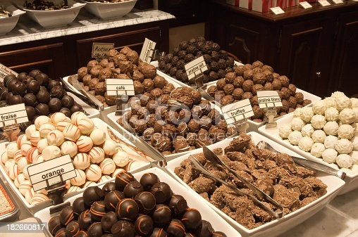 Inside of a chocolate shop Brussels Belgium
