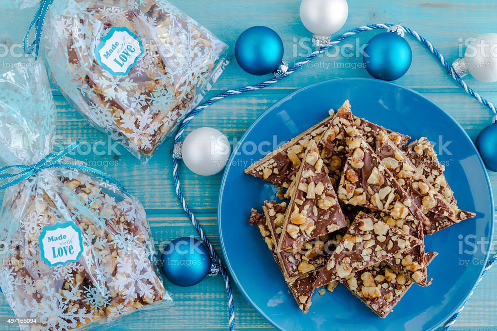 Chocolate Shortbread Holiday Cookies stock photo