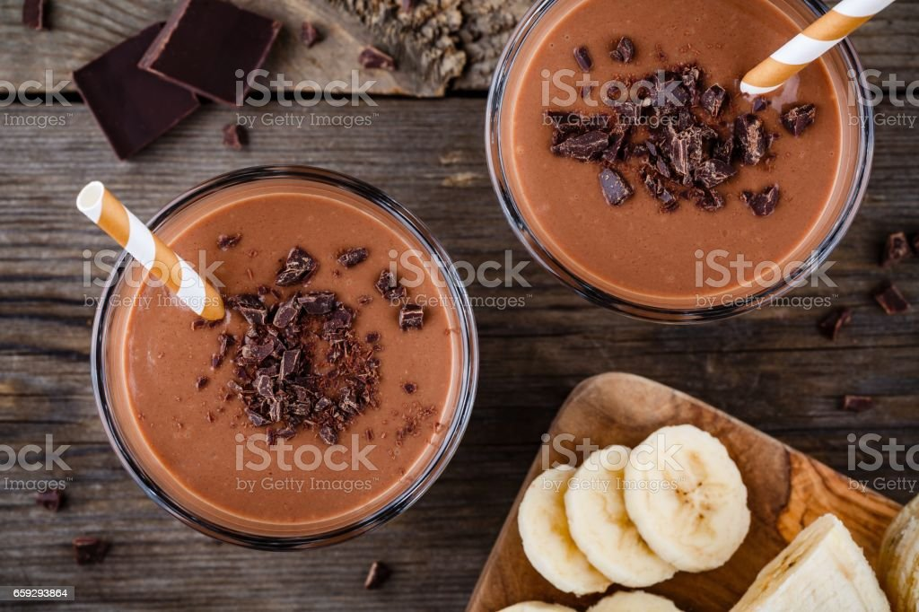 Chocolate smoothie with banana stock photo