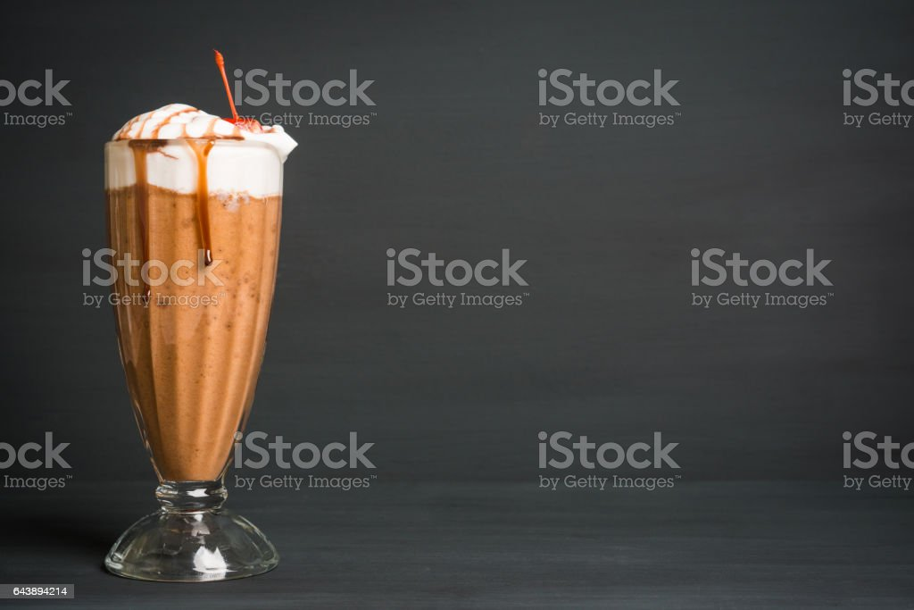 Chocolate smoothie with bananas and cookies stock photo