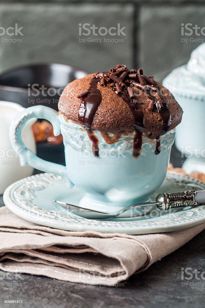 Chocolate souffle with  chocolate stock photo