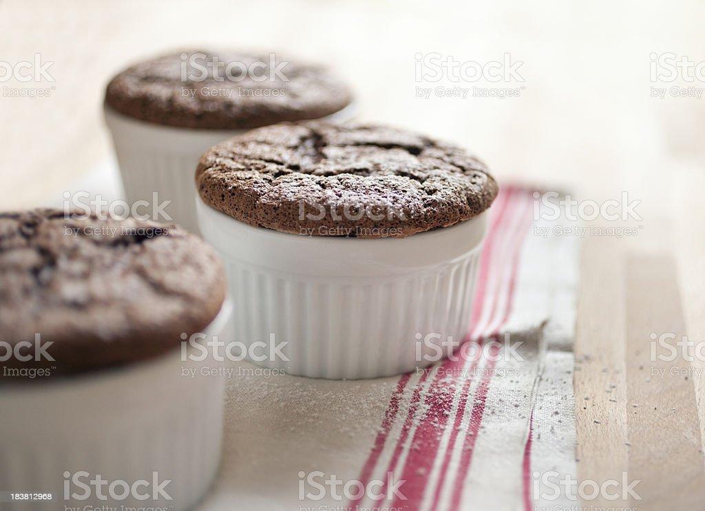 Chocolate souffles stock photo