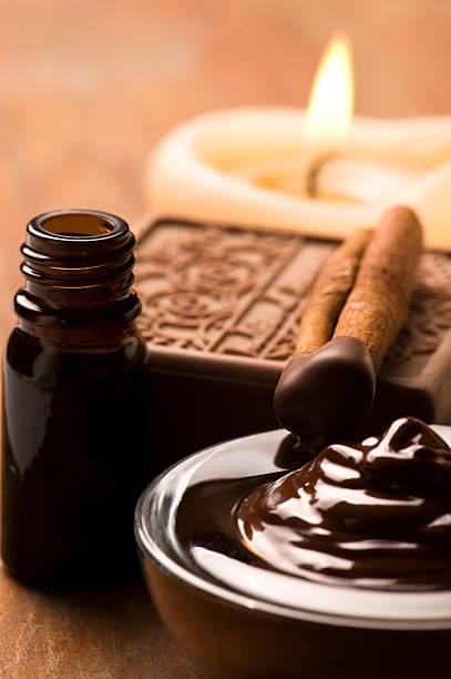 Chocolate spa with cinnamon stock photo