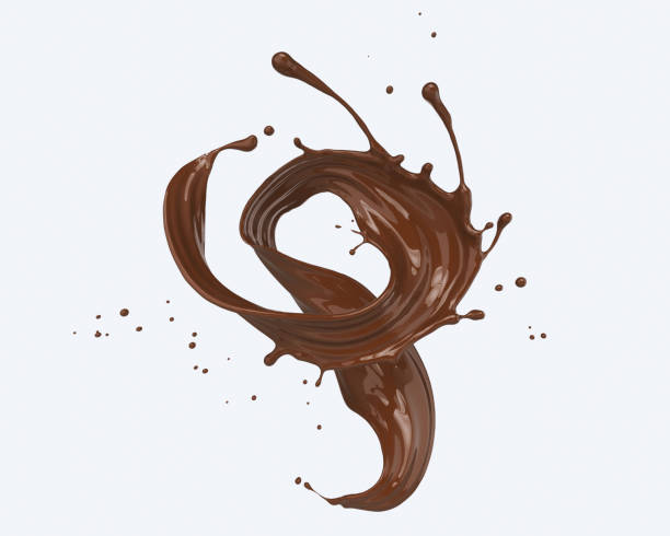 chocolate splash isolated on white background.. - chocolate swirl stock photos and pictures