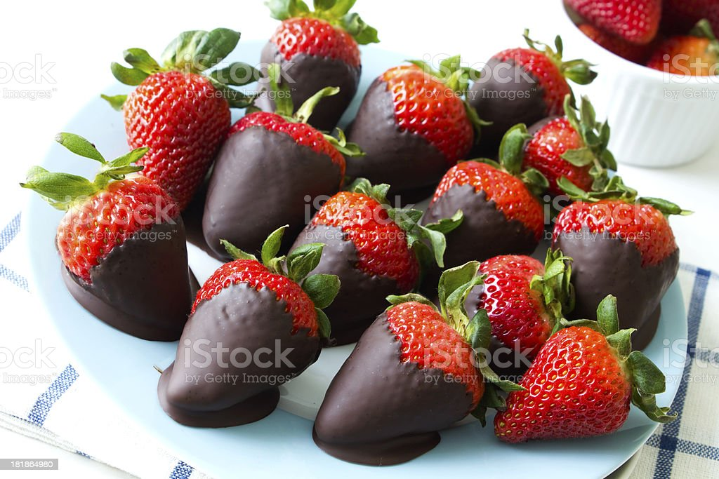 Chocolate strawberries stock photo