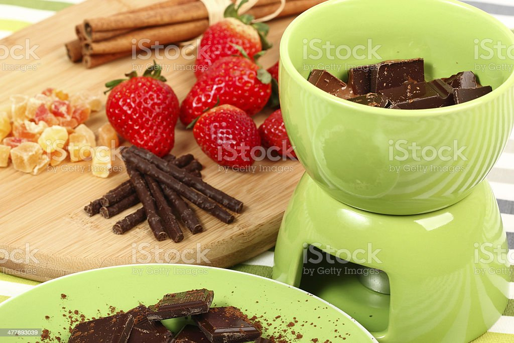 Chocolate Strawberry Fondue royalty-free stock photo