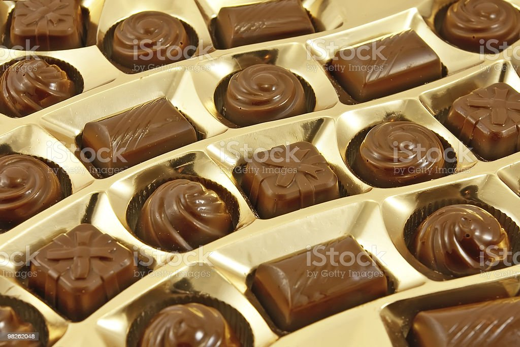 Chocolate sweets in  box royalty-free stock photo